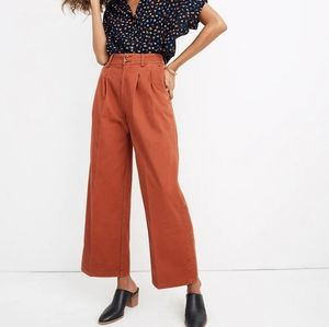 Madewell Pleated Wide-Leg Pants in Afterglow Red